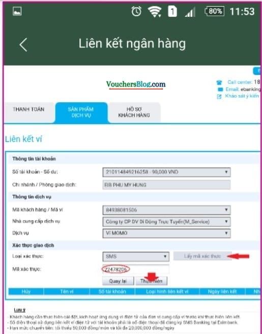 Các bước liên kết Ví MoMo với Tài khoản Ngân hàng Eximbank
