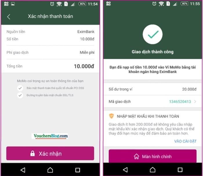 Nộp tiền vào ví momo từ Eximbank