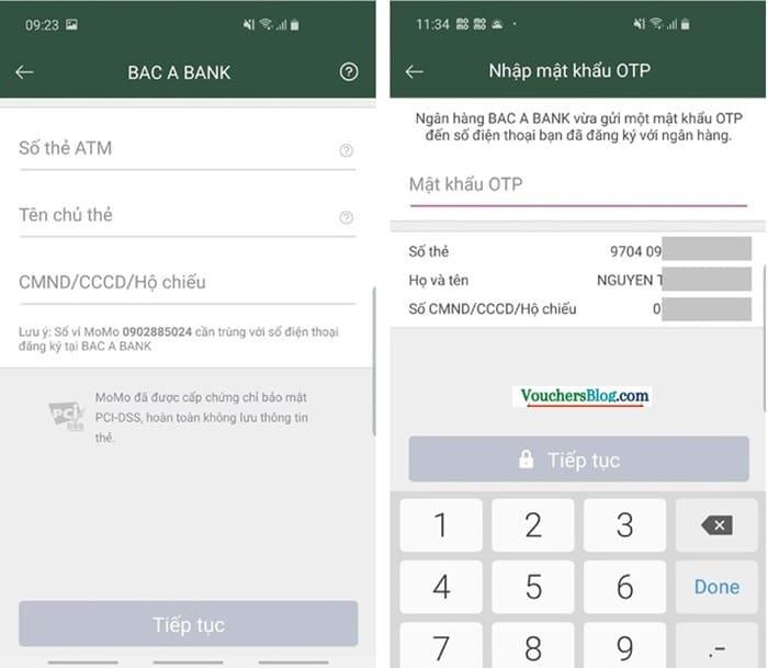 Các bước liên kết Ví MoMo và ngân hàng Bac A Bank