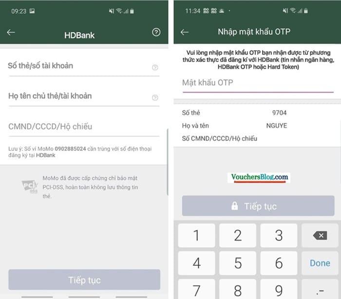 Các bước liên kết tài khoản ngân hàng HDBank với Ví MoMo