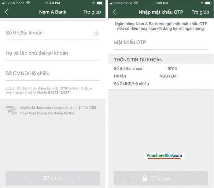 Các bước liên kết Nam Á Bank với Ví MoMo