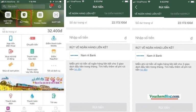 Rút tiền khỏi ví momo về Nam Á Bank