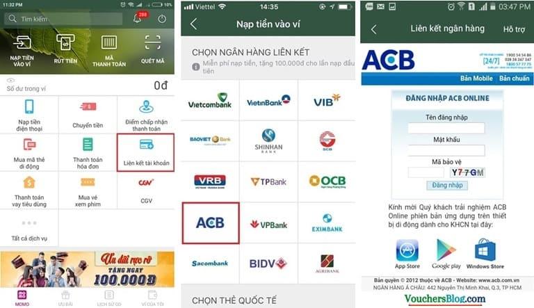 Các bước liên kết Ví MoMo với Tài khoản Ngân hàng ACB
