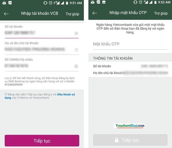 Các bước liên kết ví momo với Tài khoản ngân hàng Vietcombank