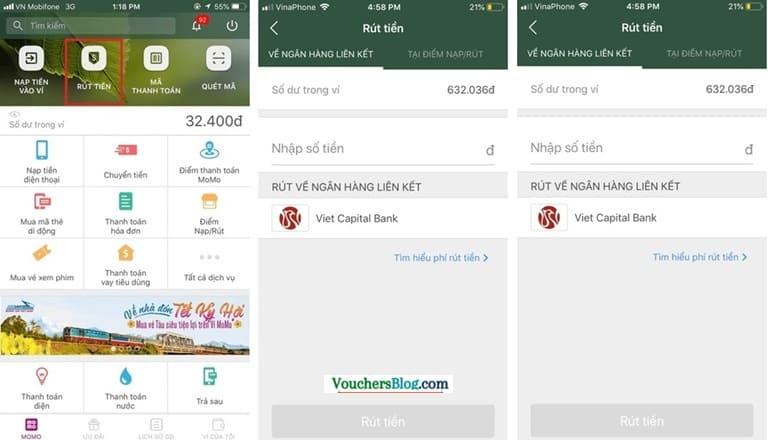 Rút tiền khỏi ví momo về viet capital bank