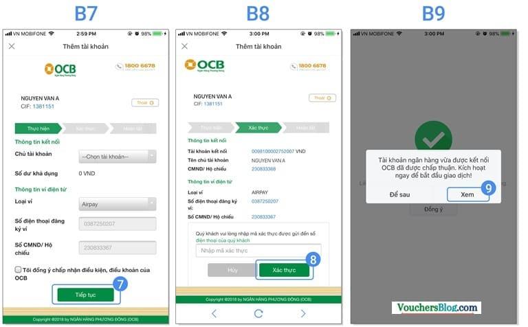 Hướng dẫn liên kết tài khoản Ngân hàng TMCP Phương Đông (OCB) với Ví AirPay