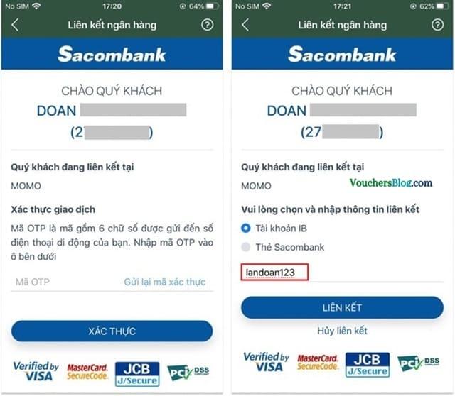 Các bước liên kết Ví MoMo với tài khoản Ngân hàng Sacombank