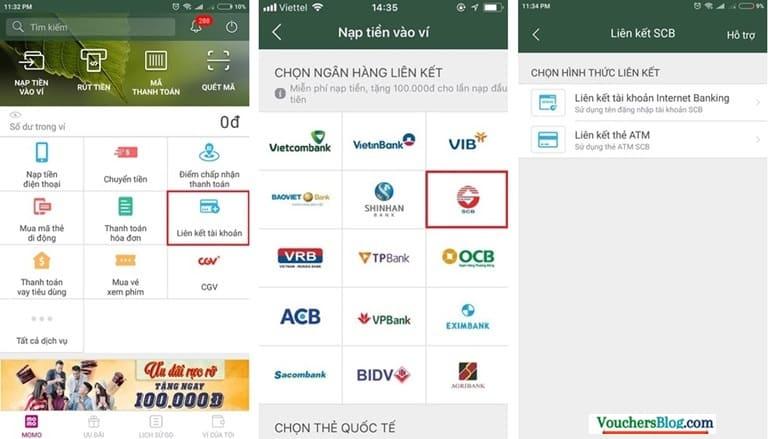 Các bước liên kết tài khoản Ngân hàng SCB với Ví MoMo