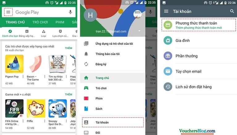 Liên kết tài khoản Google Play với ví momo