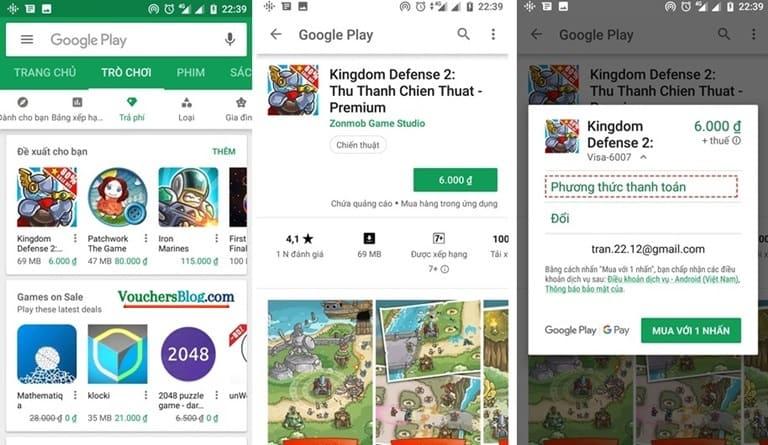 Thanh toán google play trên ví momo