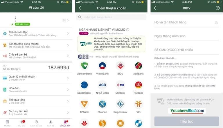 Hướng dẫn các bước liên kết tài khoản Ngân hàng BIDV Ví MoMo