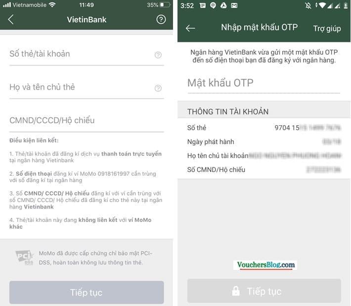 Các bước liên kết Ví MoMo với Ngân hàng Vietinbank