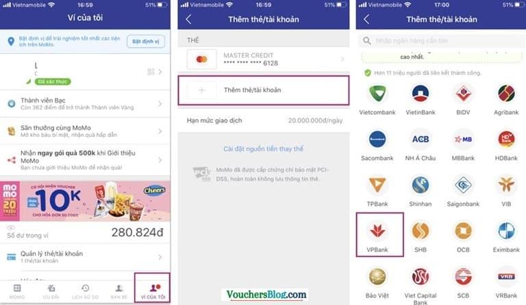 Các bước liên kết tài khoản ngân hàng VPBank với ví momo