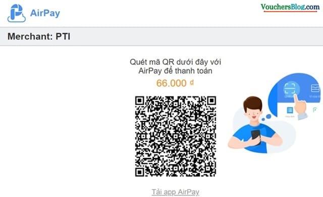 Các bước Mua bảo hiểm PTI thanh toán airpay trên Web Desktop