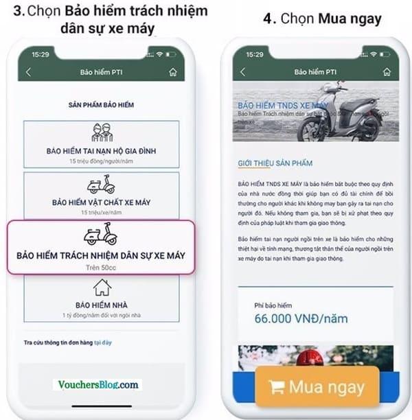 Mua Bảo hiểm xe máy PTI trên ví momo