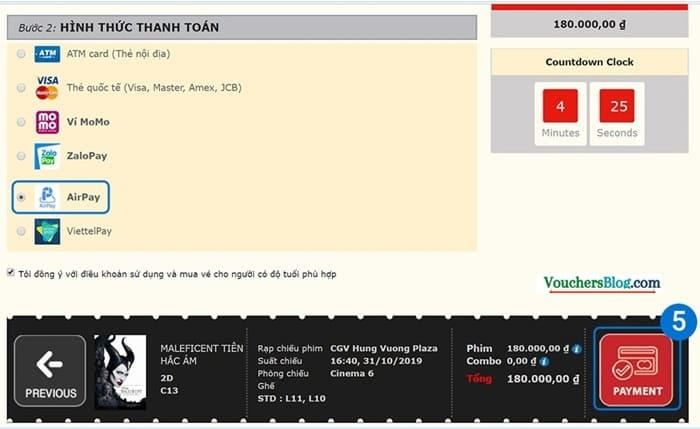 Hướng dẫn thanh toán vé CGV bằng ví AirPay khi mua vé qua website CGV