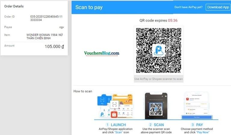 Hướng dẫn quét mã QR khi thanh toán trên website