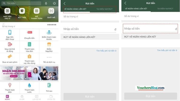 Rút tiền khỏi ví Momo về BIDV