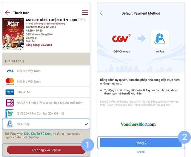 Hướng dẫn liên kết và thanh toán CGV bằng ví AirPay khi mua vé qua ứng dụng CGV