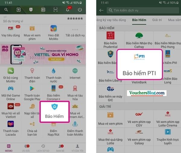 Cách Thanh toán phí bảo hiểm PTI bằng Ví MoMo