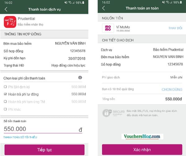 Cách Thanh toán phí bảo hiểm Prudential bằng ví MoMo