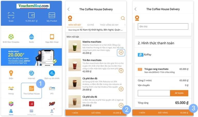 Hướng dẫn thanh toán đơn hàng The Coffee House bằng ví điện tử AirPay