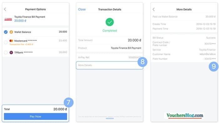 Hướng dẫn thanh toán dịch vụ tài chính Toyota Finance qua Ví AirPay