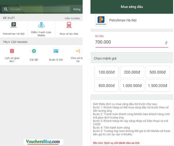 Các bước Thanh toán Petrolimex bằng Ví MoMo