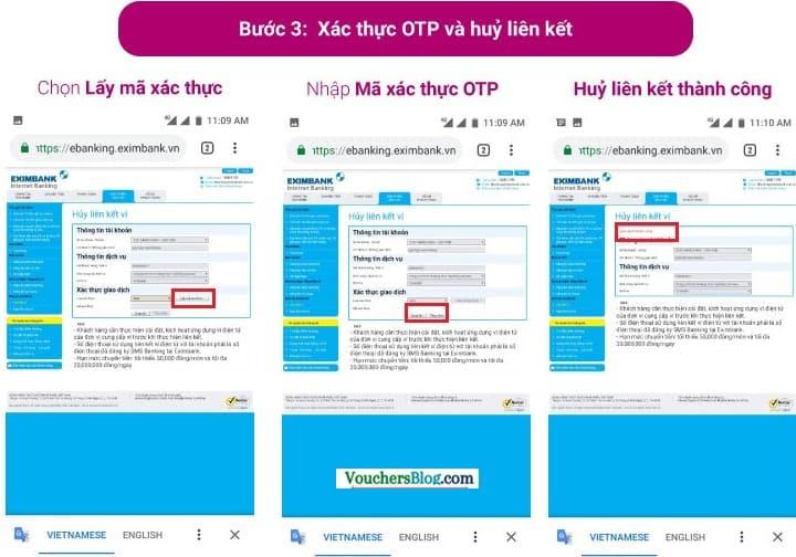 Hủy liên kết giữa Ví MoMo với tài khoản ngân hàng Eximbank