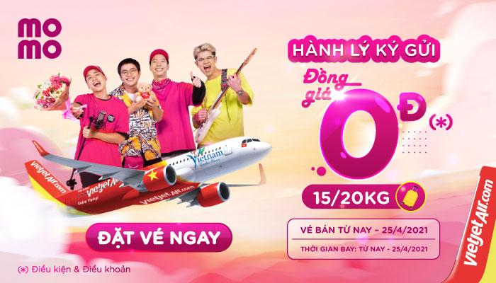 Đặt vé VietJet Air trên MoMo: Hành lý 15kg - 20kg đồng giá 0đ
