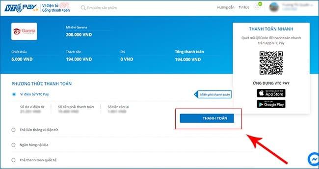 Mua thẻ Garena online bằng Ví VTCpay luôn rẻ