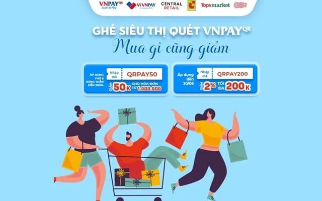 Voucher giảm giá Tops Market quét VNPAY Qr code