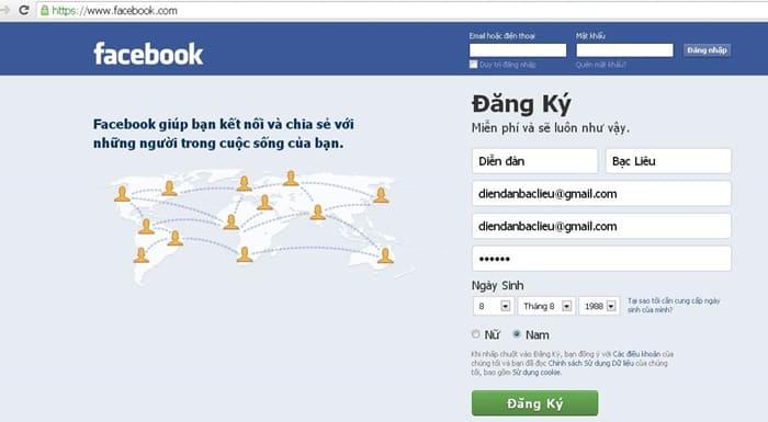 Lập một tài khoản Facebook