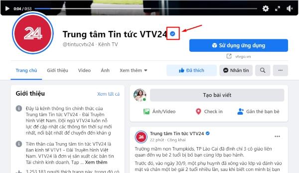 Dấu tích xanh xuất hiện sau tên Fanpage Trung tâm tin tức VTV24