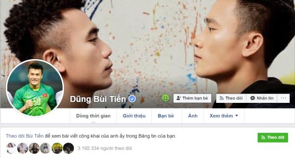 Dấu tích xanh xuất hiện sau tên Facebook cá nhân của cầu thủ Bùi Tiến Dũng
