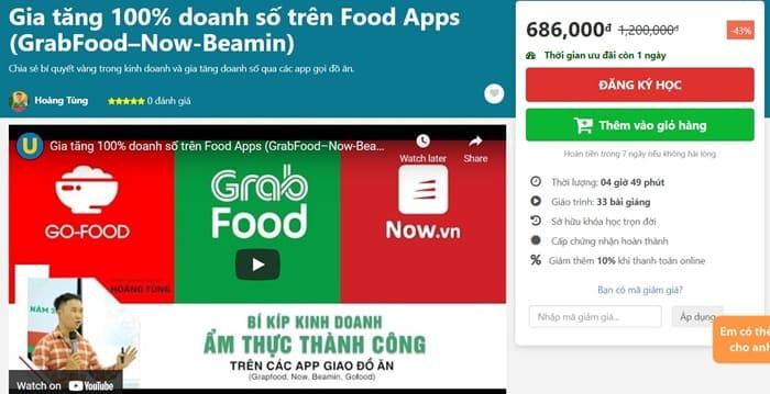 Giới thiệu khóa học Gia tăng 100% doanh số trên Food Apps GrabFood, Now, Beamin