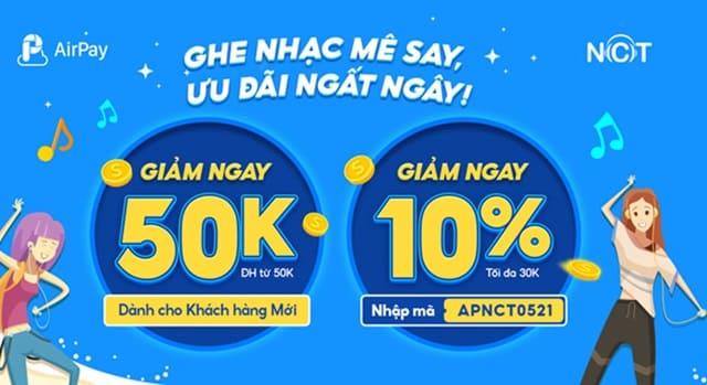 Mã ưu đãi AirPay khi thanh toán Gói VIP nhaccuatui