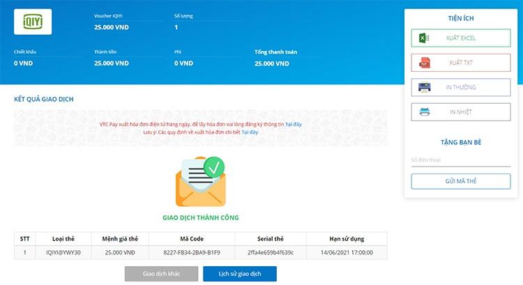 Hướng dẫn cách mua voucher IQIYI tại VTC Pay