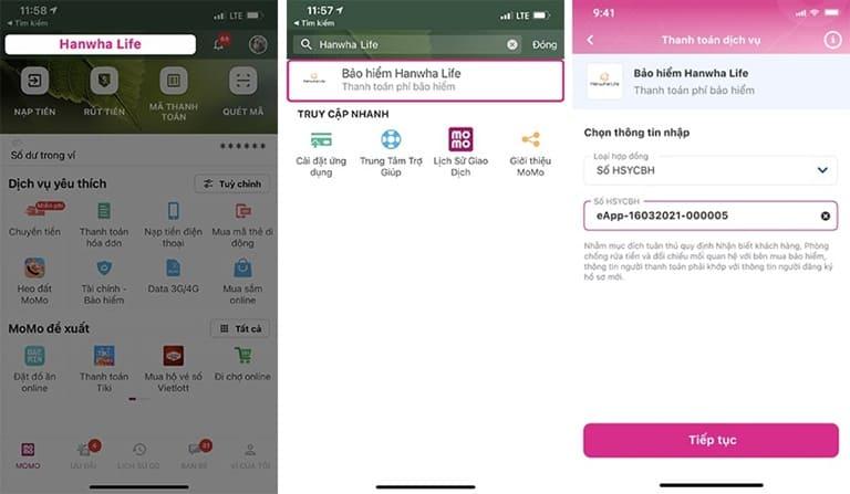 Hướng dẫn thanh toán phí Bảo hiểm Hanwha Life trên Ví MoMo
