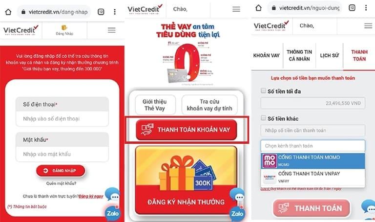 Hướng dẫn thanh toán thẻ vay tại website VietCredit trên điện thoại