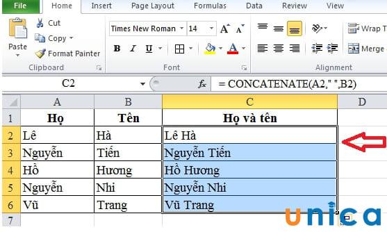 Cách gộp họ và tên trong Excel