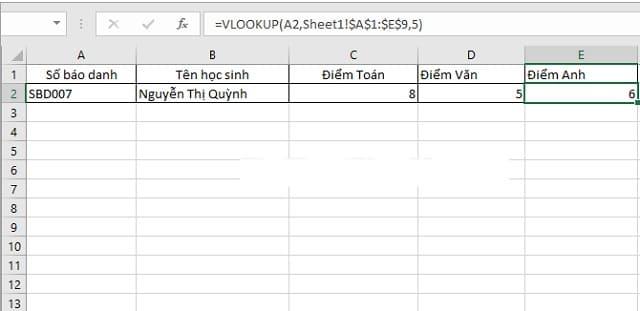 cách lấy dữ liệu từ sheet này sang sheet khác