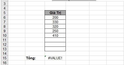 Cách sửa lỗi #value trong Excel. Hình 1