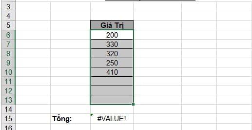 Cách sửa lỗi #value trong Excel. Hình 2