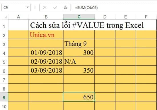 Cách sửa lỗi #value trong Excel. Hình 9