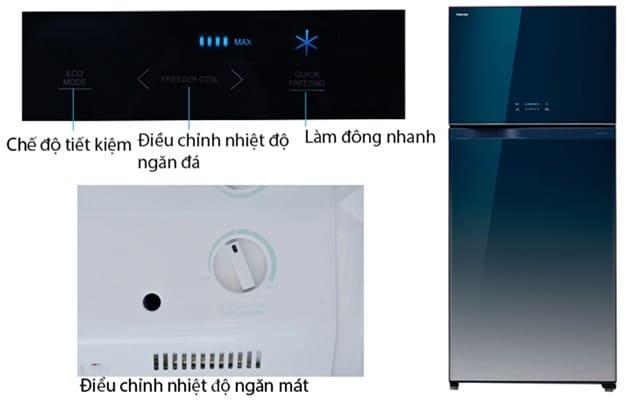 Các nút chức năng của tủ lạnh Toshiba GR-WG58VDAZ