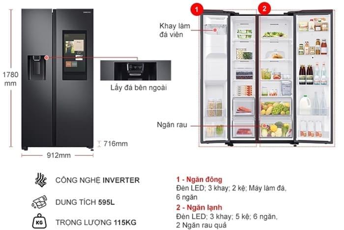Tủ lạnh Samsung Inverter 377 lít RT35K50822C