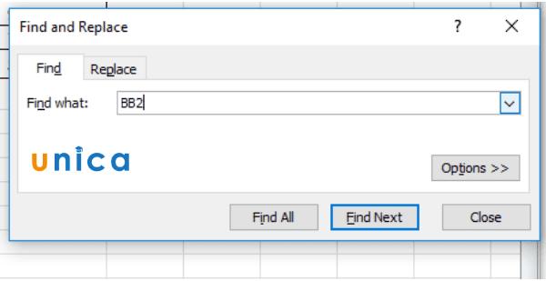 Cách tìm kiếm dữ liệu bằng Replace trong Excel