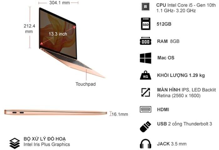 Thông số kỹ thuật Apple Macbook Air i5 13.3 inch MVH52SA/A 2020