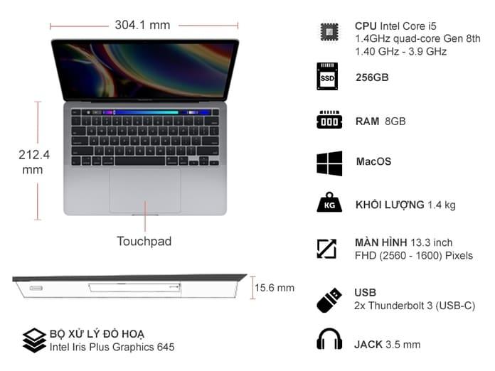 Thông số kỹ thuật Apple Macbook Pro i5 13.3 inch MXK32SA/A 2020